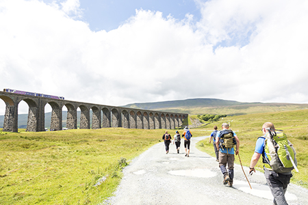 Walkers on Yorkshire Three Peaks Challenge